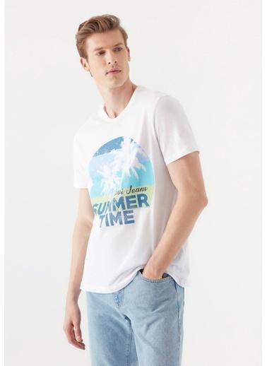 Mavi Summer Time Baskılı  Tişört Beyaz